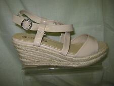 Ladies spot on wedge heel sandal, patent straps, Nude, F22115