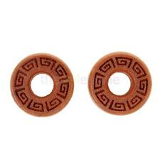 MagiDeal Pair Ear Stretching Wood Saddle Flared Ear Tunnels Plugs Vintage Carved