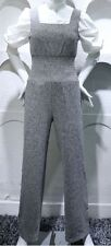 Crepe Sleeveless Cotton Blend Grey Jumpsuit Bell Cuff Sleeves Turtleneck Top