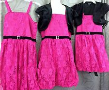Girls Easter pink lace Bubble lined dress w/ black shrug size 6 7 8 10 12