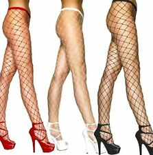 Ladies Fence Net Fish Net Lace Tights Stockings Full Length Black White Red