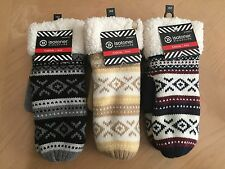 Women's Isotoner Fair Isle Soft Sherpa Mittens/Gloves, Navy/Gray/Ivory One Size