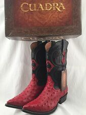 CUADRA AUTHENTIC OSTRICH COWBOY BOOTS *ALL SIZES* western wear RED POINTED TOE