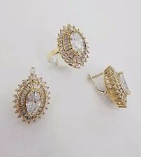 925 STERLING SILVER HANDMADE JEWELRY MARQUISE WHITE TOPAZ EARRING & RING SETS