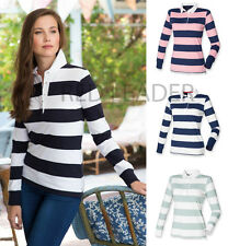 Womens Long Sleeve Striped Cotton Rugby Shirt Fashion University College FR111