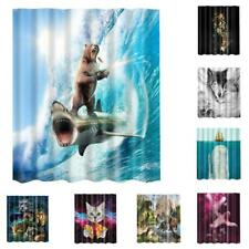 Polyester Cat Eating Cake Bathroom Curtain Shower Panel w/ 12 Hooks 1.8x1.8M
