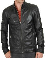 New Men's Genuine Lambskin Leather Jacket Slim fit Biker Motorcycle jacket-MX56