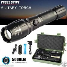 Super Bright 5000LM CREE T6 LED Torch Zoomable Military Flashlight Lamp Set Kits