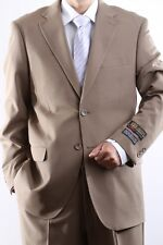 MENS TWO BUTTON SUPERIOR 100 TAN DRESS SUIT, SML-60212S-60204-TAN