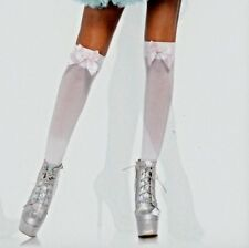 Leg Avenue 6255 Opaque Thigh Highs One Size Regular White with Pink Satin Bows