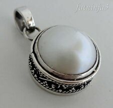 Round Mabe Pearl Solid Silver, 925 Bali Handcrafted Pendant 34556