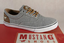 Mustang Fabric Lace up Sneakers Low Shoes grey, Rubber sole 1225 NEW
