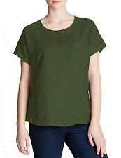 M&S Marks KHAKI Green Pure Linen Easy-to-Iron Summer Shell Top T-Shirt RRP£22.50