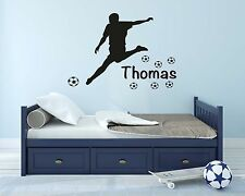 Boys Personalised Football Player Wall Decal Sticker Bedroom Wall Art Mural
