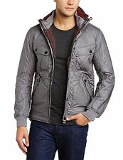 Mens Duck and Cover Designer Zip Up Hooded Quilted Horsforth Grey Bomber Jacket