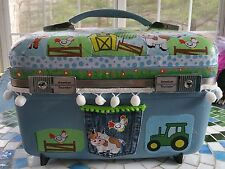BABY'S HOPE CHEST Upcycled Train Case Whimsical Farm Theme Baby Shower Gift Hand
