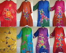 HAND DRAWN/PAINT FLORAL BATIK KAFTAN (VA144)WOMEN/MALAYSIAN/LONG/FREE SIZE/SILK