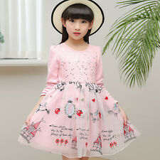 New 2017 Spring Girls Dresses Cotton Long sleeves Lace Floral Kids Casual