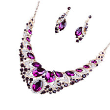 Women Fashion Jewelry Set Crystal Pendant Statement Bib Necklace And Earrings