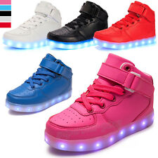 Children Boys Girls LED Light Up Shoes Trainer High Top Luminous Casual Sneakers