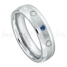0.21ctw Sapphire & Diamond Ring, September Birthstone, Dome Tungsten Ring #006