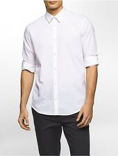 calvin klein mens slim fit end-on-end solid roll-up shirt