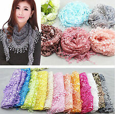 Fashion Women Lace Wrap Scarf Triangle Hollow Scarves Shawl Tassel Wraps New