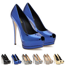 Women's Sexy Peep Toe Stilettos Wedding Party Shoes Invisible Platform High Heel