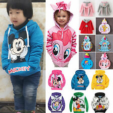 Kids Mickey Casual Tops Sweatshirt Hoodies Girls Boys Cartoon Jumper Shirt Coat