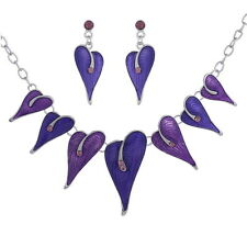 Fashion Enamel with Rhinestones Leaves Shape Necklace and Earring Jewelry Sets