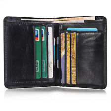 Men's Genuine Leather ID Card Slot Bifold Wallet Coin Purse Pocket Money Clip