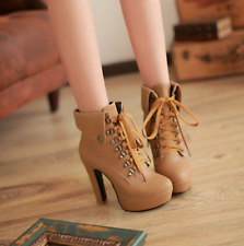 Punk ladies Buckle rivet boots Lace Up Chunky high heels Platform Ankle shoes