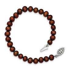 Sterling Silver 6-7mm Brown FW Cultured Pearl Bracelet or Necklace QH4817