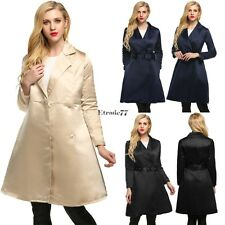 Women Elegant Notched Collar Solid Long Swing Trench Coat with Belt EA77
