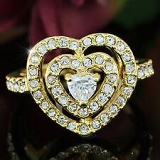 Heart Gold Plated Ring use Swarovski Crystal SR104