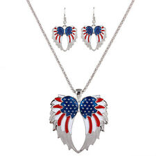 Fashion Wing Enamel Golden Silver Plated Necklace Earring Jewelry Sets for Women