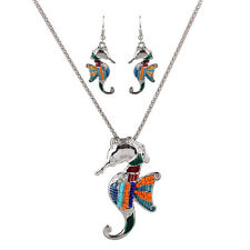 New Hippocampus Charm Pendant Women Necklace Enamel Beads Earrings Jewelry Sets