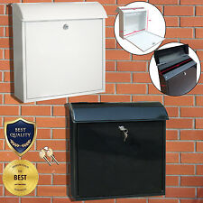 LOCKABLE LETTER MAIL POST BOX WALL MOUNTED VENICE STAINLESS STEEL WHITE BLACK
