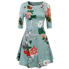 Women's Half Sleeve Floral Print Fit and Flare Party Cocktail Swing Tea B5UT