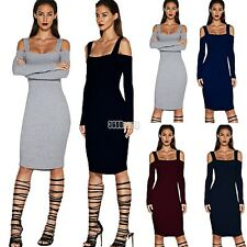 Women Sexy Bandage Backless Long Sleeve Evening Party Pencil Bodycon Mini B5UT