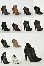 LADIES FASHION DETAIL HIGH HEEL NEW WOMENS STILETTO ANKLE BOOTS SHOES SIZE 2-8