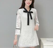Sexy Women Lace Long Sleeve Bowknot Slim Cocktail Party Evening Short Mini Dress