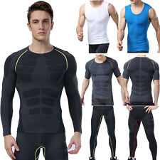 Mens Sports Apparel Skin T-Shirts Compression Base Layer Workout Leggings Pants