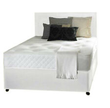 4FT6 DOUBLE WHITE LEATHER BED, MEMORY MATTRESS,HEADBOARD DOUBLE BED DOUBLE BASE
