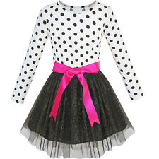 Sunny Fashion Girls Dress Long Sleeve Tutu Skirt Bow Tie Party Age 6-12 Years