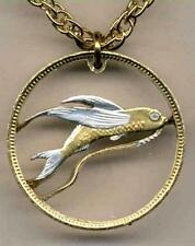 """Tuvalu 20 Cent Silver & Gold Plated 18""""/24"""" (cut out Flying Fish) Coin Necklace"""