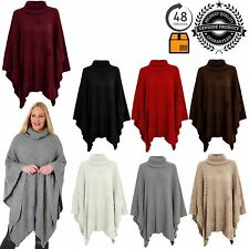 New Ladies COWL POLO Neck Knitted Cape Wrap Shawl Jumper Cardigan Poncho UK 8-14