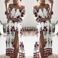 Sexy Off-shoulder Women Floral Party Cocktail Evening Dress Long Boho Dress  M31
