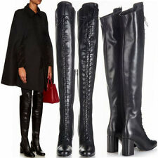 Womens Round Toe Lace Up Thigh High Boots Over Knee Long Booties Mid Cuban Shoes