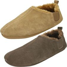 Mens Clarks Warm Lined Suede House Slippers - Kite Indie